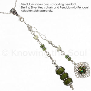 One of a Kind #115 - Moldavite, Libyan Desert Glass, Abalone and Sterling Silver Pendulum
