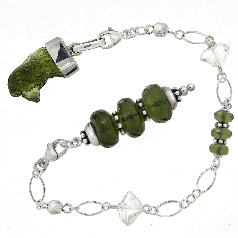 One of a Kind #202 - Moldavite, Herkimer Diamond and Sterling Silver Pendulum