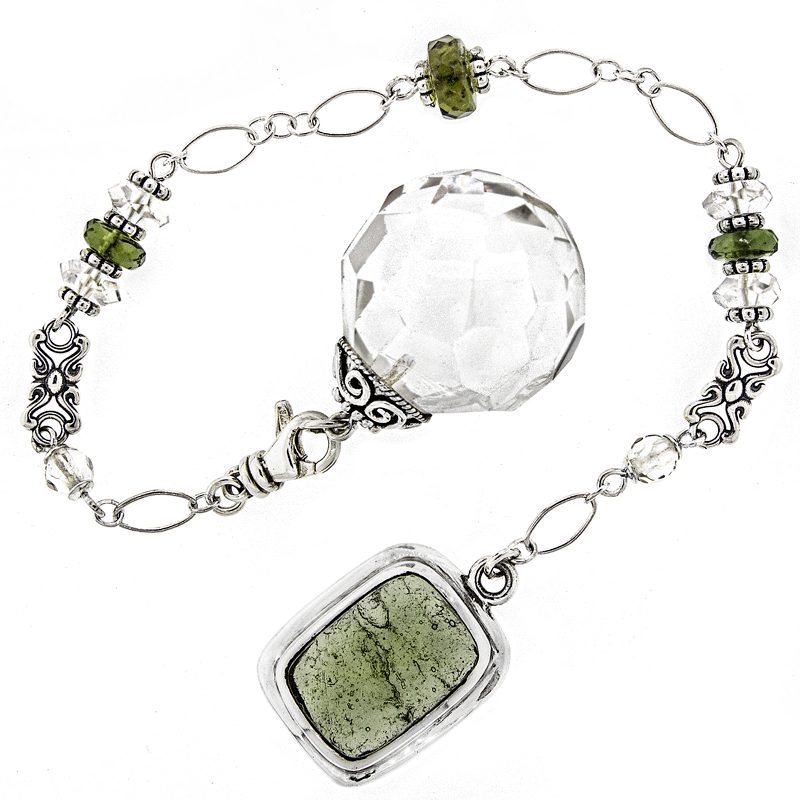 One of a Kind #214 - Clear Quartz, Moldavite and Sterling Silver Pendulum