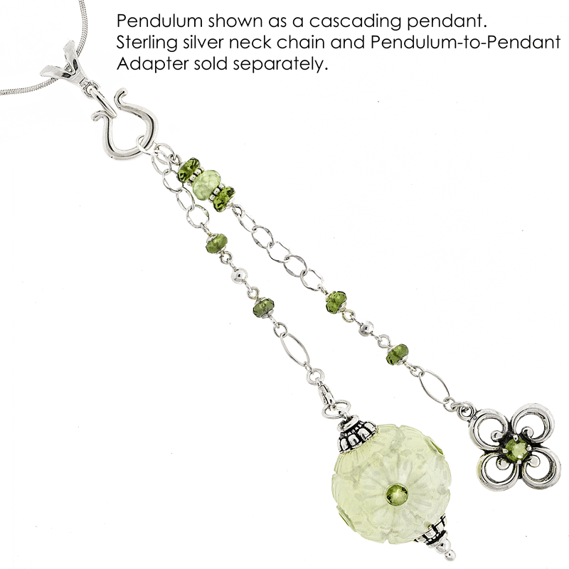 One of a Kind #218 - Serpentine, Moldavite, Prehnite and Sterling Silver Pendulum