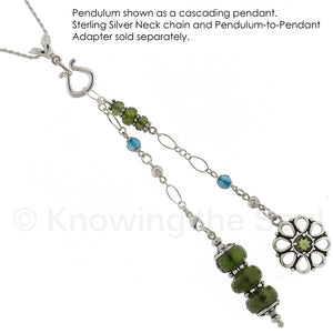 One of a Kind #113 - Moldavite, Aqua Aura and Sterling Silver Pendulum