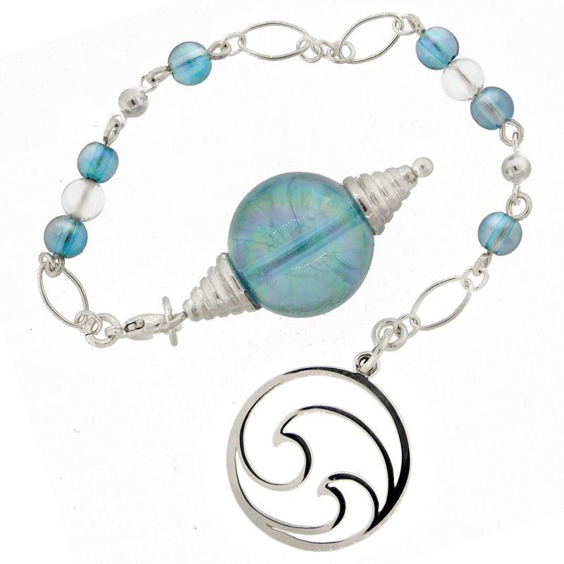 """Ocean of Truth"" Aqua Aura, Quartz and Sterling Silver Pendulum"