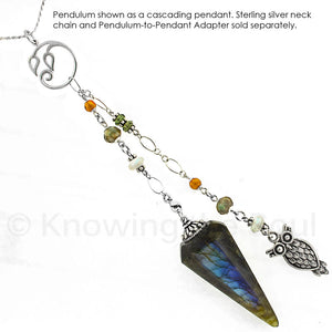 The Owl - Spirit Animal Series - Labradorite, Gemstone and Sterling Silver Pendulum