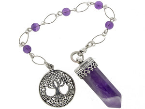 "ask-your-pendulum - ""Point of Connection"" Amethyst and Sterling Silver Pendulum"