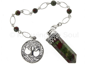 Point of Connection - Dragon Blood Jasper and sterling silver pendulum