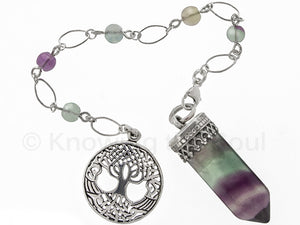 Point of Connection - Rainbow Fluorite and sterling silver pendulum