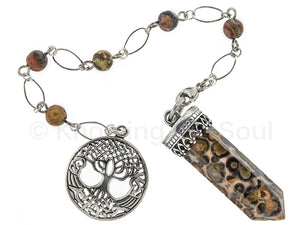 Point of Connection - Leopardskin Jasper and sterling silver pendulum