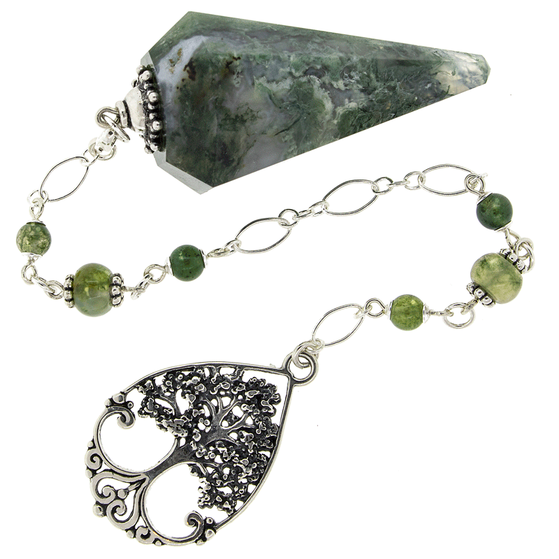 """Prosperity"" Moss Agate and Sterling Silver Pendulum"