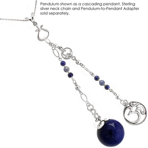 Pulse of the Universe - Indigo Blue Goldstone, Iolite, and Sterling Silver Pendulum
