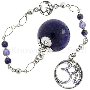 ask-your-pendulum - Pulse of the Universe - Indigo Blue Goldstone, Iolite, and Sterling Silver Pendulum