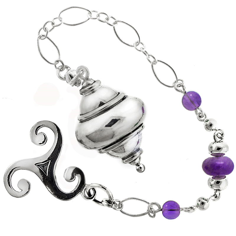 """Spindle of Wisdom"" Sterling Silver and Gemstone Pendulum - Amethyst"
