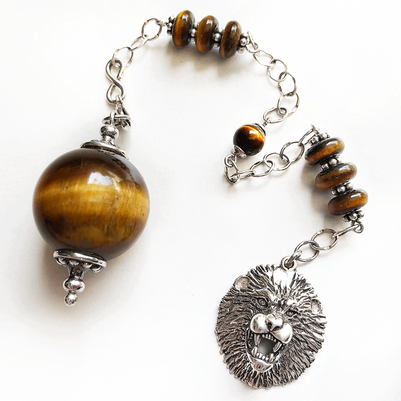 One of a Kind #204 - Golden Tiger's Eye and Sterling Silver Pendulum