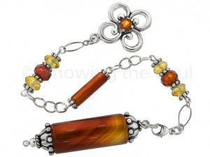 Torch Light - Carnelian, Citrine, Spessartite Garnet and Sterling Silver Pendulum