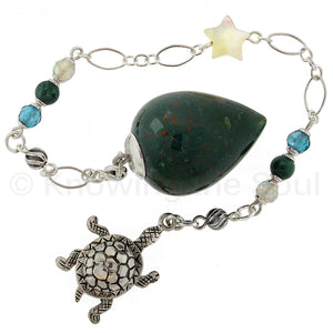 The Turtle - Spirit Animal Series - Bloodstone, Gemstone and Sterling Silver Pendulum