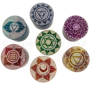 Set of Seven Chakra Soapstone Keepsake Boxes