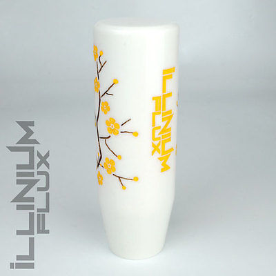 ILLINIUM FLUX YELLOW PAINTED WHITE SAKURA BLOSSOM MANUAL SHIFT KNOB 10X1.5 K69