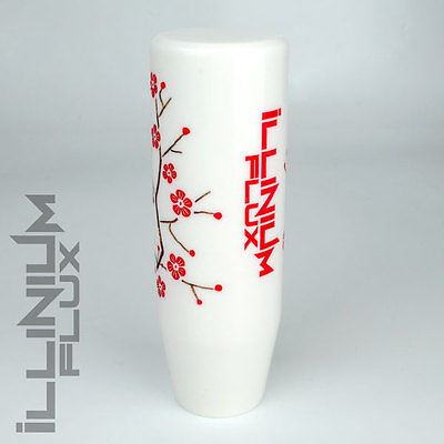 ILLINIUM FLUX RED PAINTED WHITE SAKURA BLOSSOM MANUAL SHIFT KNOB 12X1.25 K15