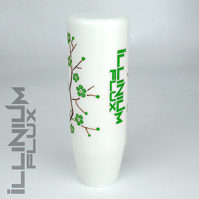 ILLINIUM FLUX GREEN PAINTED WHITE SAKURA BLOSSOM MANUAL SHIFT KNOB 10X1.25 K61