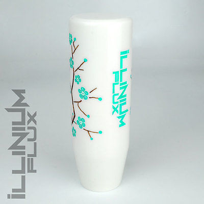 ILLINIUM FLUX TEAL PAINTED WHITE SAKURA BLOSSOM MANUAL SHIFT KNOB 10X1.25 K61