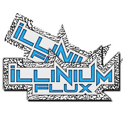 2 ILLINIUM FLUX WHITE BLUE STICKERS VINYL DECAL KIT STICKER PACK WINDOW LIP