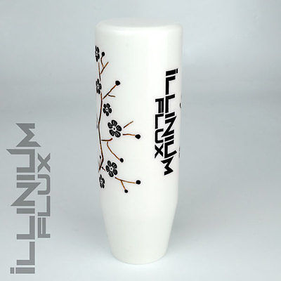 ILLINIUM FLUX BLACK PAINTED WHITE SAKURA BLOSSOM MANUAL SHIFT KNOB 12X1.25 K15
