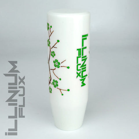 ILLINIUM FLUX GREEN PAINTED WHITE SAKURA BLOSSOM AUTOMATIC KNOB 8X1.25 K49
