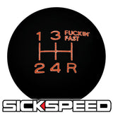 BLACK ENGRAVED SHIFT KNOB 5RDR 10x1.5