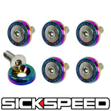 6 PC BLUE WINDSCREEN FENDER WASHER BOLT KIT W NEO CHROME SPIKES MOTORCYCLE M9