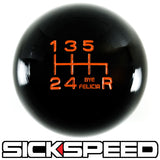 BLACK ENGRAVED SHIFT KNOB 6RDR 10X1.25 K09