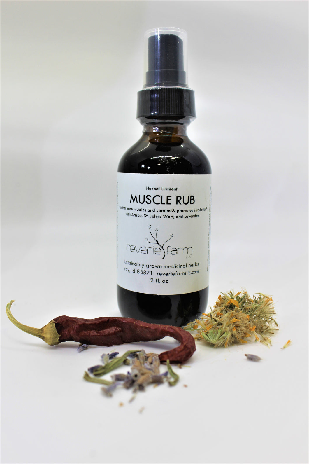Herbal Muscle Rub, organic herbal liniment for sore muscles, sprains and promoting circulation, warming & cooling