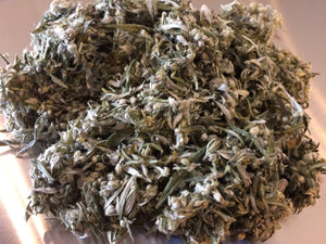 Mugwort herb, dried Artemisia vulgaris organic leaf and flower bud, Ai Ye Moxa