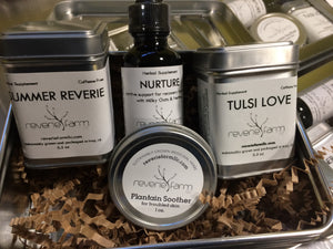 Herbal Wellness Gift, GIft Tin to Pamper and Ease with Nurture Tincture Blend, Muscle Balm & Organic Herbal Teas