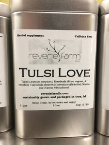 Tulsi Love, Herbal Tea Tin with Tulsi, Holy Basil, Rosebuds, Calendula USA organic farm grown