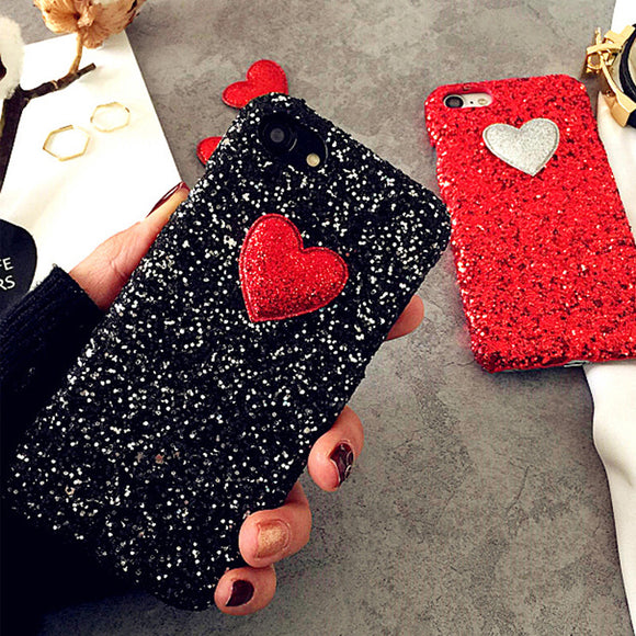 3D Sparkling Love Heart Case For IPhone 7 6 6S Plus SE 5 5S