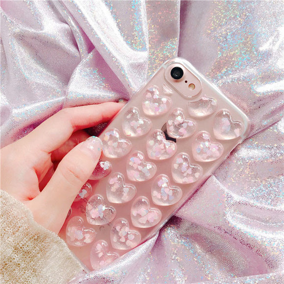 3D Bling Love Clear Gel Phone Cases For iphone 7 6 6s Plus