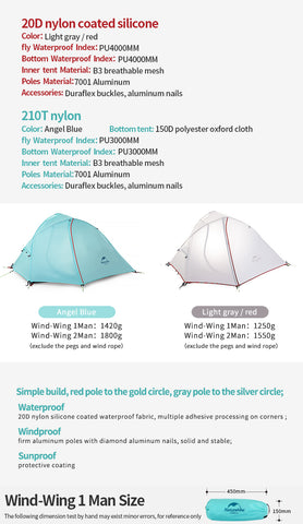 Naturehike Wind Wing 1 & 2 Man Tents – Outdoor Essentials UK