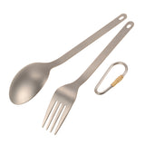 Titanium Fork & Spoon With Carabiner for Camping