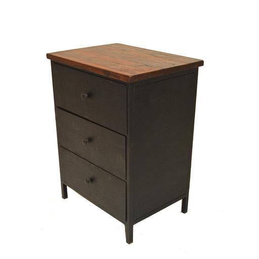 industrial, chic, nightstand, spacious, black, steel, wood, Ricardo Nightstand
