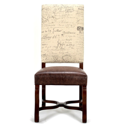 leather and linen dining chair