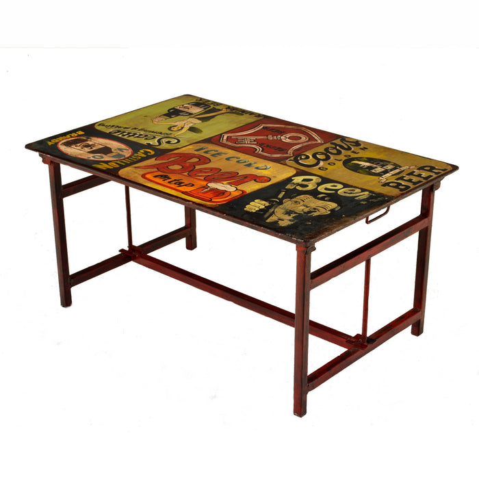 Artist Steel Vintage Dining Table, Hand Painted
