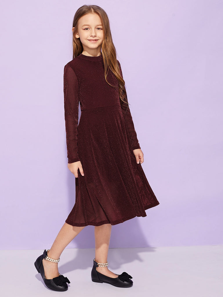 Girls Keyhole Back Fit & Flare Glitter Dress