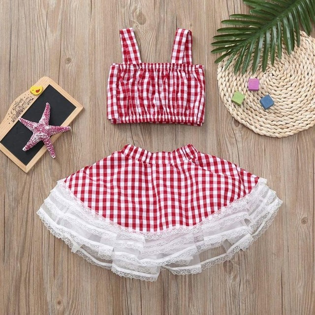 New Arrival 2Pcs Baby Girls Plaid Tops Sweet Tutu