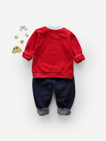 Toddler Boys Letter Print Sweatshirt With Pants