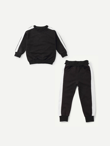 Toddler Boys Contrast Tape Side Top With Pants