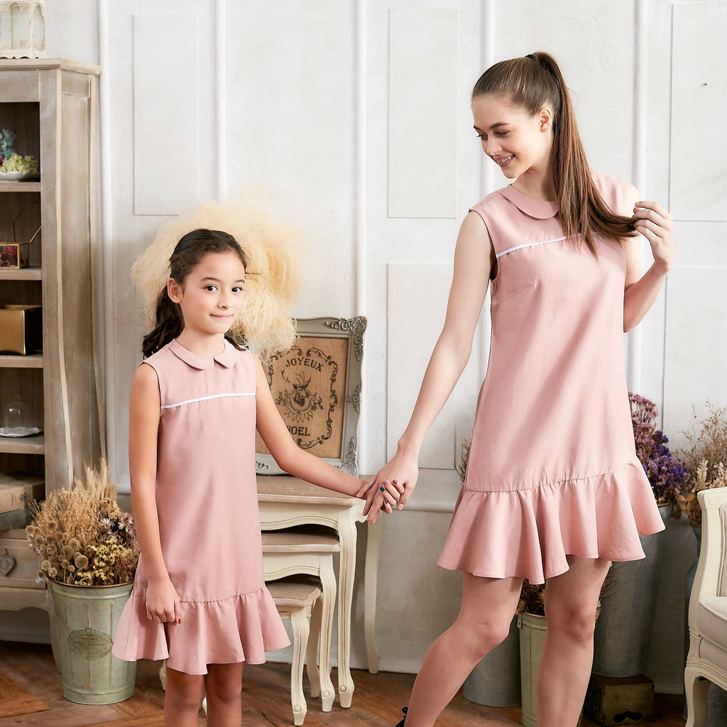 (Set of 2) Pink Ruffle Drop Waist Dress