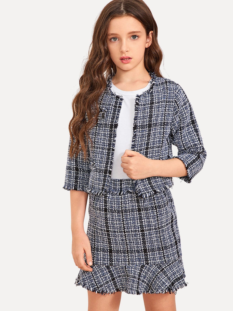 Girls Raw Hem Tweed Top & Skirt Set