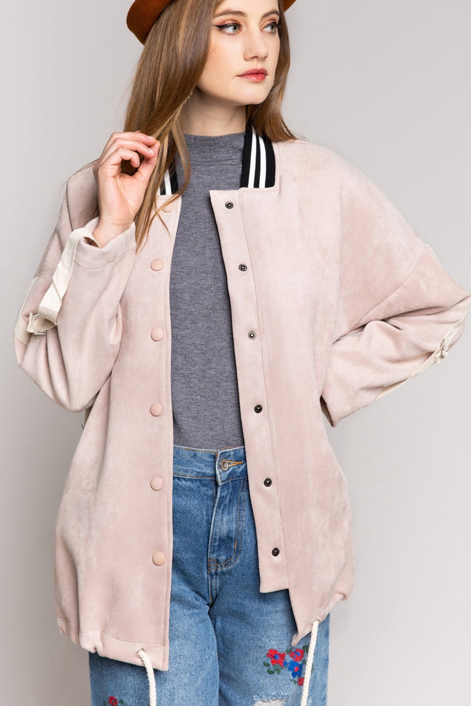 Powder Pink Long Suede Bomber Jacket