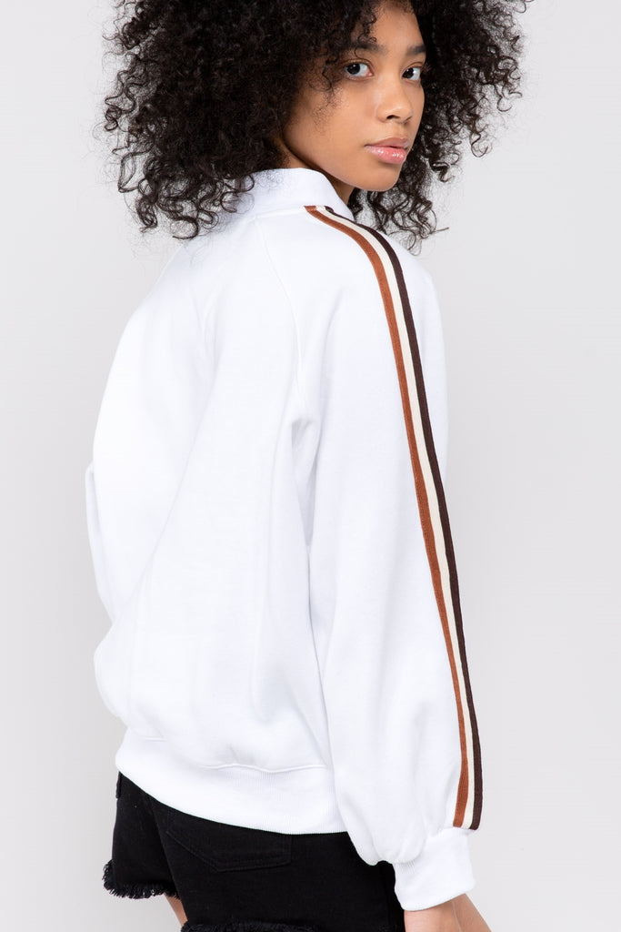 White Sweatshirt with Racing Stripes on Sleeves