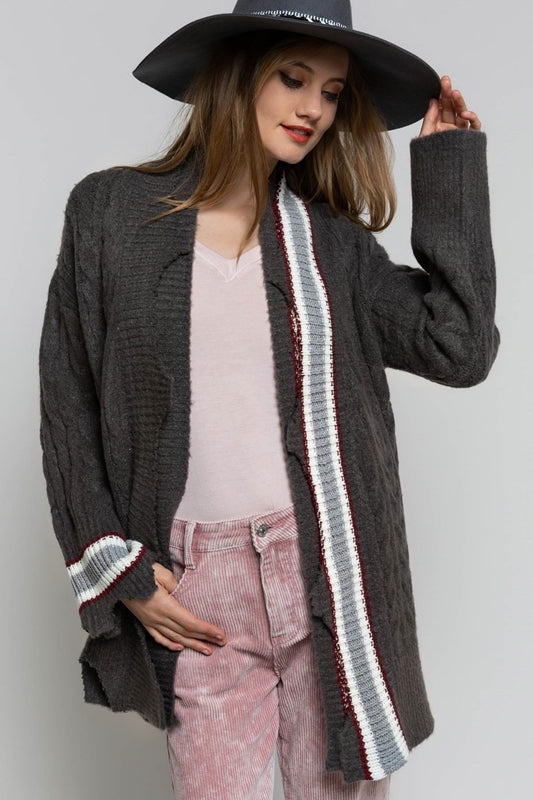 Charcoal Grey Distressed Cardigan