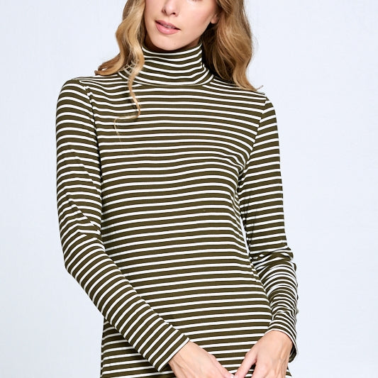 Long Sleeve Olive Green/White Striped Mock Neck Top